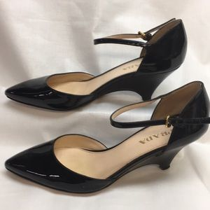 Prada Patent Leather Ankle Strap Wedge